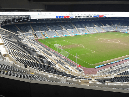 The football pitch of Newcastle United St James park stadium