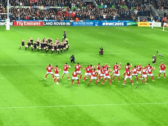 Tonga rugby players turn doing the Haka before the RUGBY WORLD CUP NEWCASTLE 2015 starts
