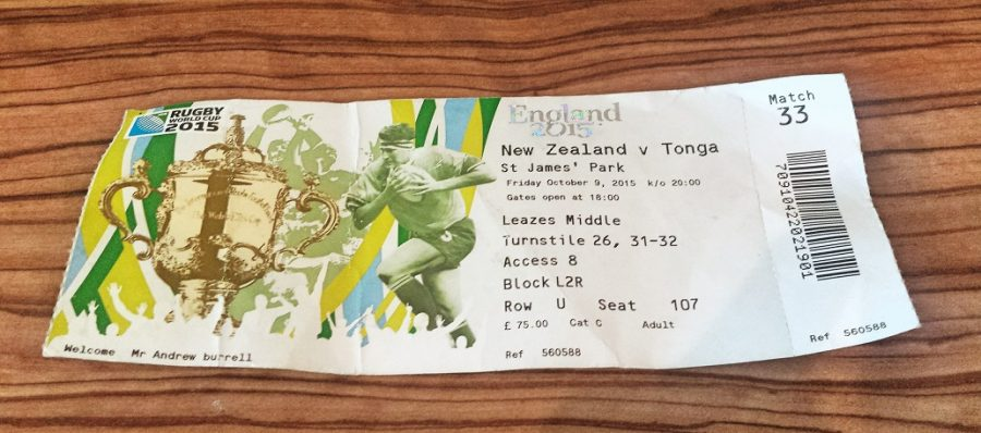 RUGBY WORLD CUP NEWCASTLE 2015 ticket to New Zealand against Tonga