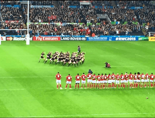 New Zealand rugby players doing the Haka before the RUGBY WORLD CUP NEWCASTLE 2015 starts