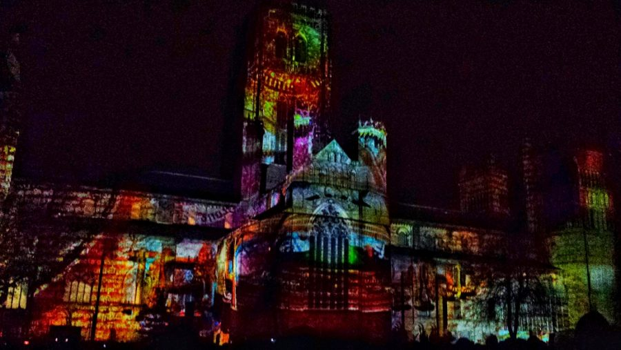 Durham Lumiere light festival light show on the Durham cathedral