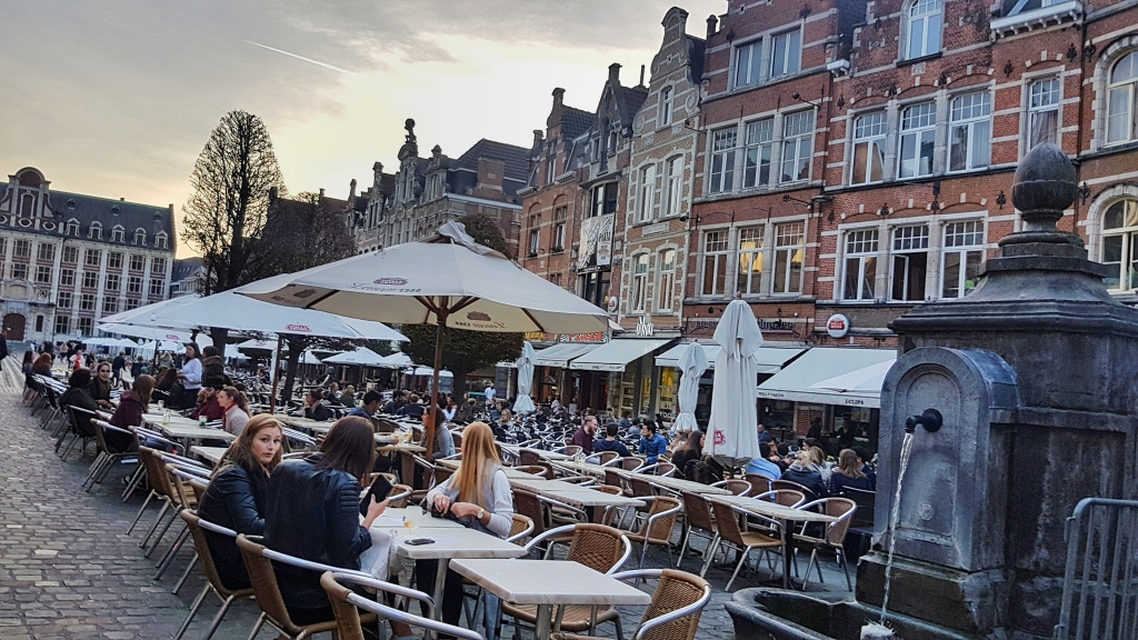 Oout Markt is the longest bar in Europe and located in Belgium. It's particularly great on thursday evening as it's student night