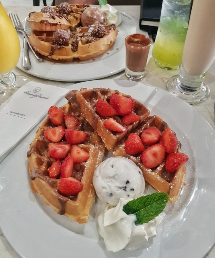 "Heavenly Desserts Bradford -></noscript></noscript> www.whatsupcourtney.com #dessert #waffles #bradford #england"" width=""806″ height=""965″></p> <h3>Drinks</h3> <p>Accompanied by Vanilla Chai Milkshake which has a good strong taste of chai is a tea lover dream if you're a fan of chai, and the other, a Tropical passion drink topped with mango sorbet was incredibly refreshing!</p> <p>The ice cream on top is just to die for especially after it has melted into the drink.</p> <p>It's wise to have both drinks separately!</p> <p><img width="