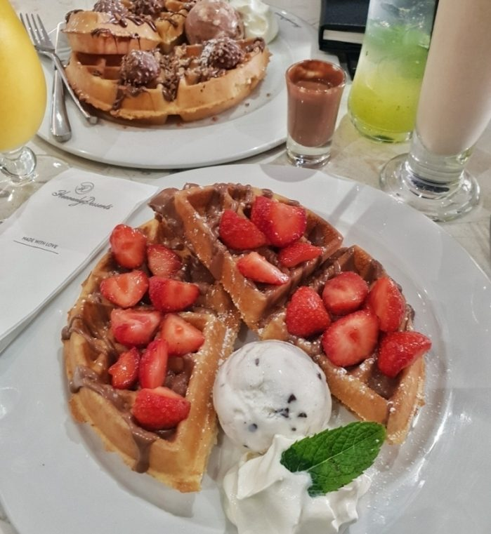 Strawberry and nutella waffles from Heavenly Desserts Bradford -> www.whatsupcourtney.com #dessert #waffles #bradford #england