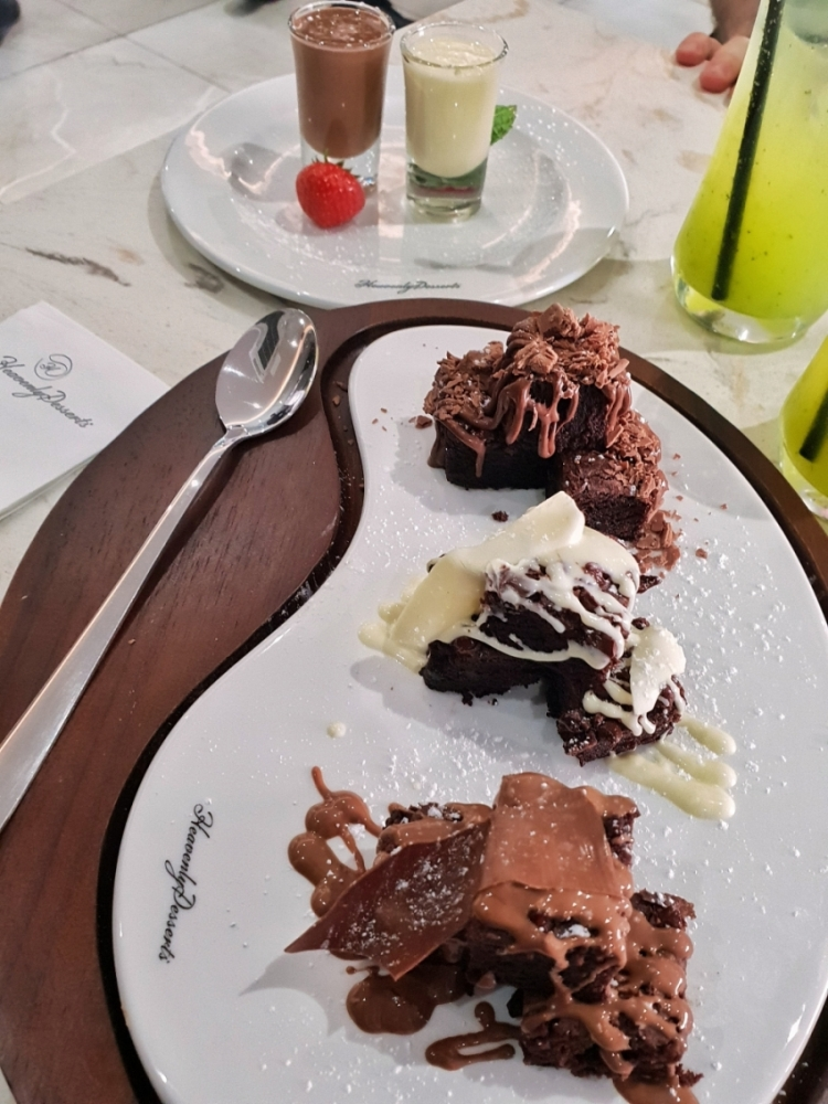 "Heavenly Desserts Bradford -></noscript></noscript> www.whatsupcourtney.com #dessert #brownies #bradford #england"" width=""819″ height=""1092″></p> <p>Two words: Dig in!</p> <p>Get in there and be messy. These moist brownies with chocolate sauce are perfect for sharing. Excuse the chocolate on my face, they are just too good to care haha!</p> <p><img width="