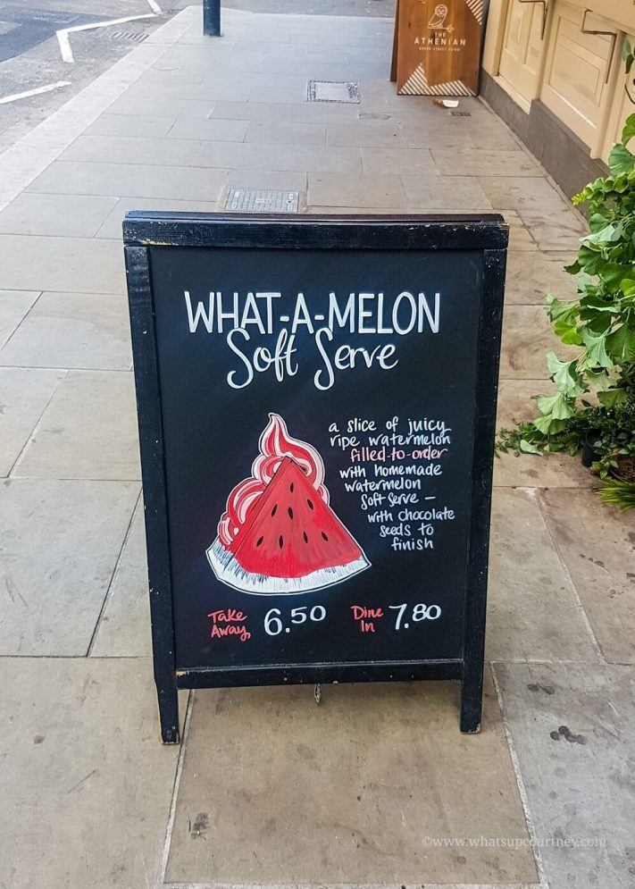 Dominique Ansel Bakery London watermelon soft serve signage, read more about it at www.whatsupcourtney.com #london #dominiqueansel #bakery #watermelonsoftserve