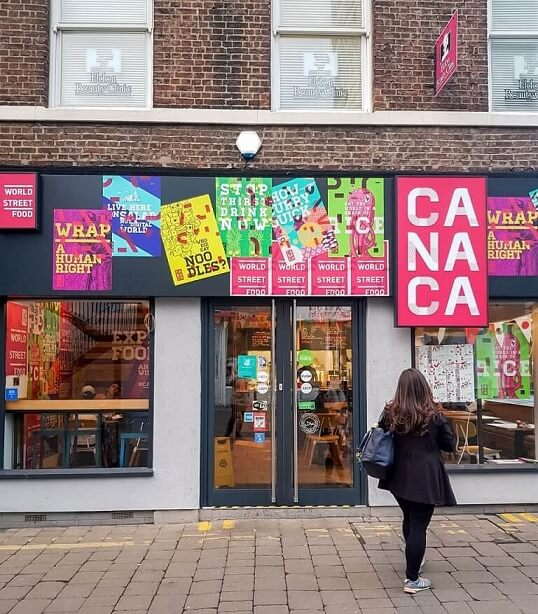 Front Entrance to Canaca World Street food restaurant in Newcastle Upon Tyne
