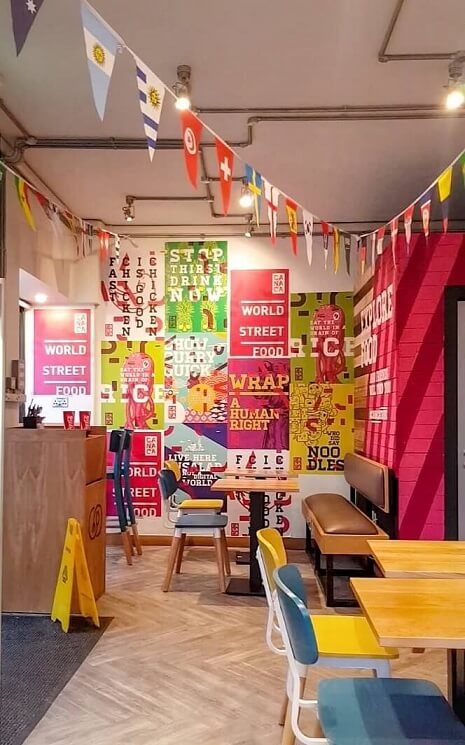 Inside Canaca World Street food restaurant in Newcastle Upon Tyne and its seating area