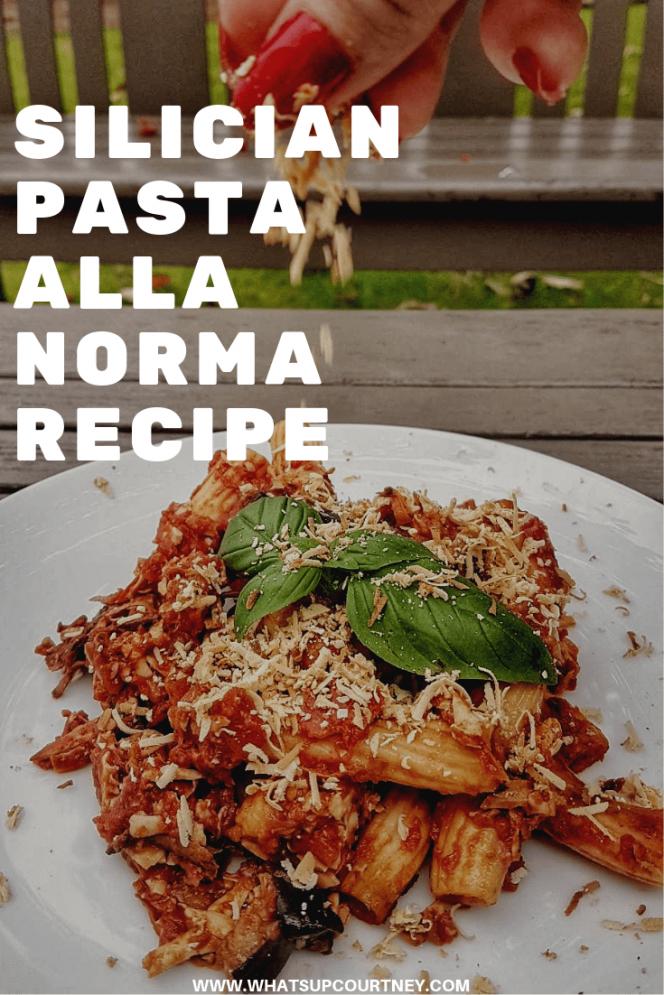Silician pasta alla norma recipe , read more at www.whatsupcourtney.com #italianrecipe #pasta #recipe