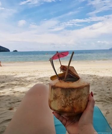 Coconut on the private beach at The Andaman resort in Langkawi