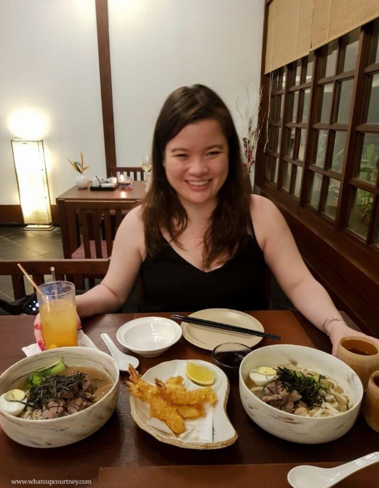Dinner at the Japanese restaurant at the Andaman Resort serving ramen, tempura and teppanyaki | heywhatsupcourtney