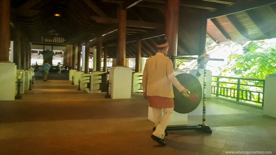 The honourary welcome gong as you arrive at the Andaman resort | heywhatsupcourtney