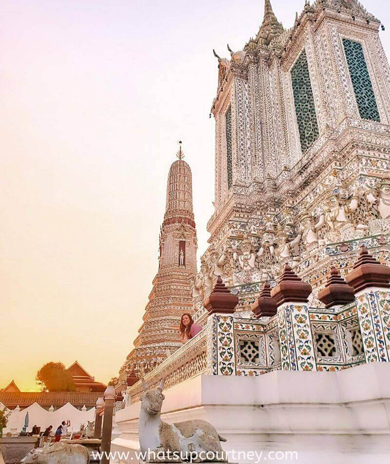 Photo of Wat Arun temple in Bangkok - Discover the top fun and unique places to visit in Bangkok | heywhatsupcourtney | #travel #bangkok #thailand