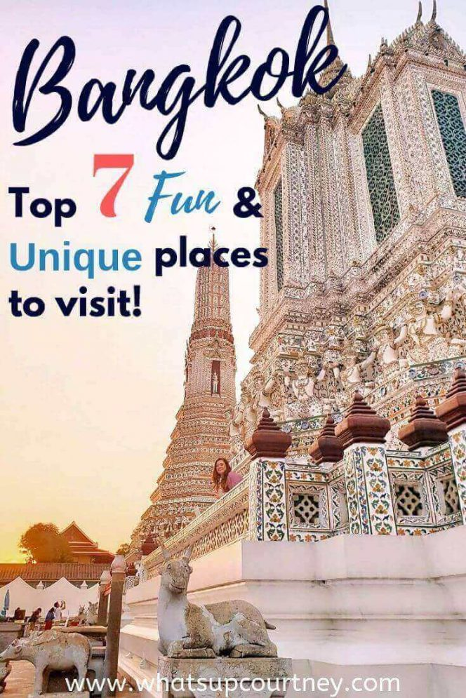 Discover the top fun and unique places to visit in Bangkok Pinterest graphic | heywhatsupcourtney | #travel #bangkok #thailand