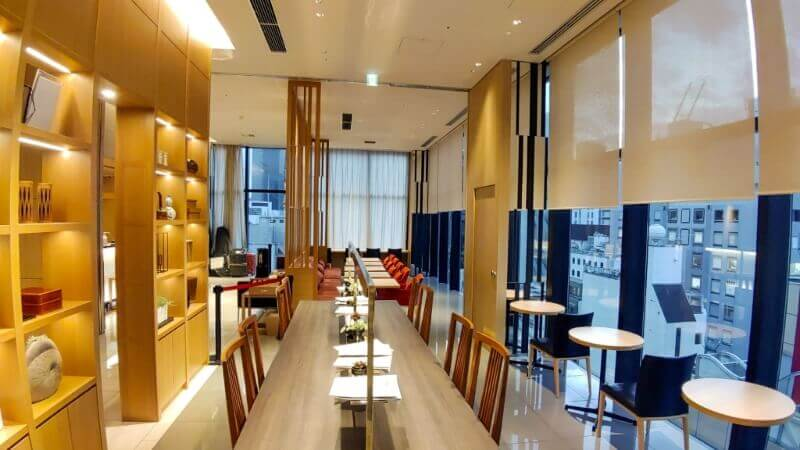 Breakfast area and Reception at Candeo Hotels Shimbashi