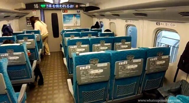 Inside the Shinkansen train in Japan
