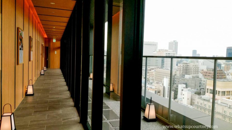 The hallway and magnificent view of Osaka Skyline on the top floor at Candeo Hotels Osaka Namba- - read more at www.whatsupcourtney.com