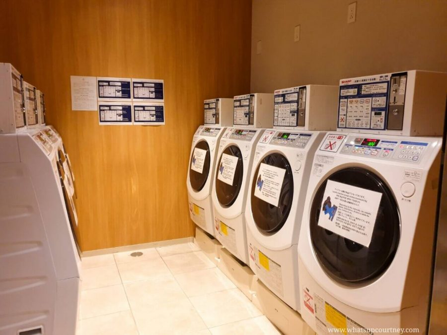 Laundry machines for guests at the Candeo Hotels in Japan - read more at www.whatsupcourtney.com