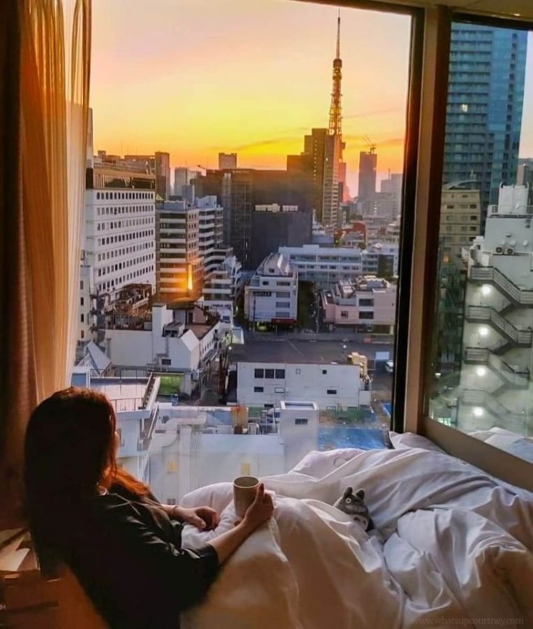 Sunrise view of Tokyo Tower from Deluxe King Room CandeoHotels Roppongi Tokyo whatsupcourtney.com
