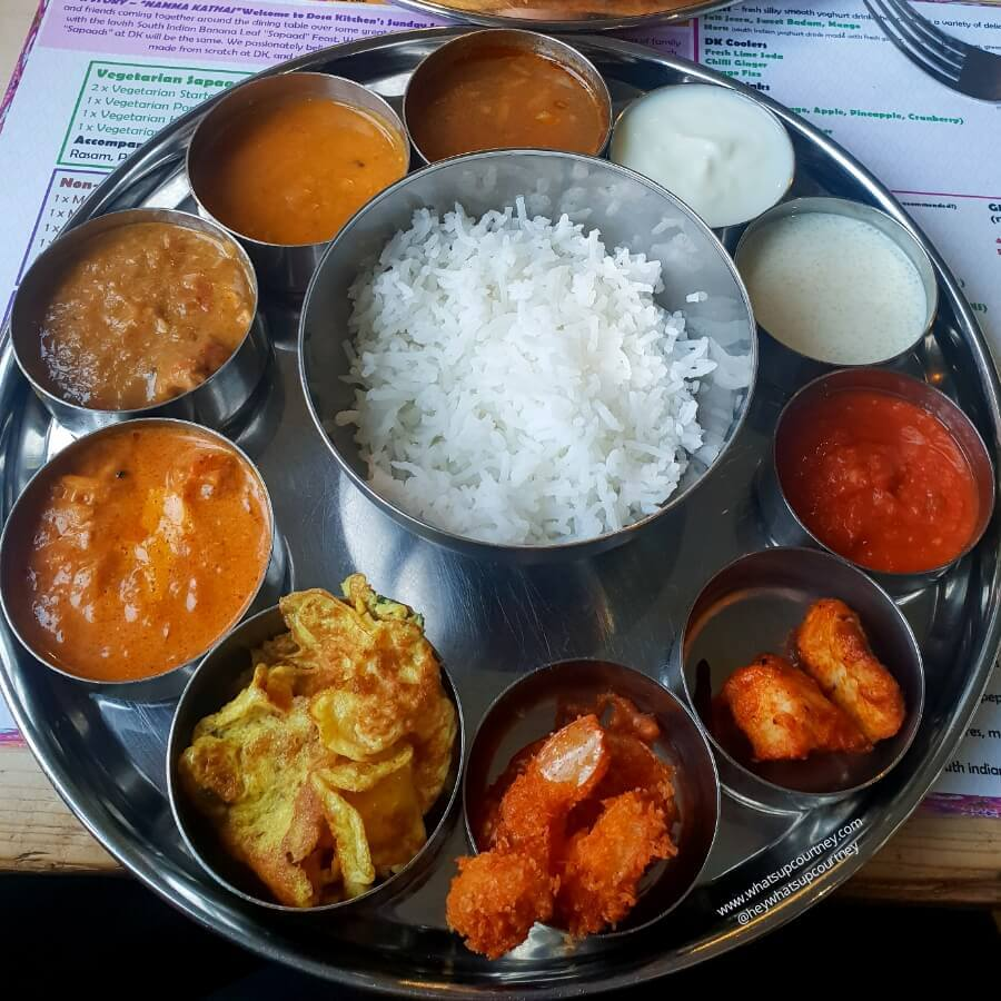 This is a Thali tray, an array of 10 little options of chicken, fish curry and sauces with dhal and rice, all of the little bowls are refillable if everyone on the table is having the dish. Dosa Kitchen is one of the best places to eat in Newcastle Upon Tyne if you are visiting or even a local here.