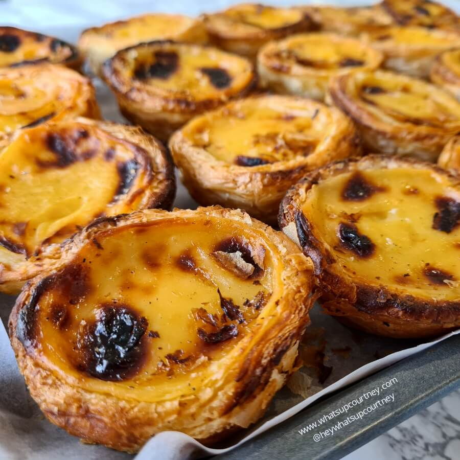 A pan of pasteis de nata (portuguese custard tarts)