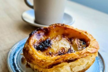 Pastel de Nata, the famous Portuguese custard tarts. Very popular and very tasty, it is flaky on the outside, thick and creamy custard inside. It's from the Portuguese Cafe called Albufeira Cafe in Newcastle Upon Tyne - www.whatsupcourtney.com