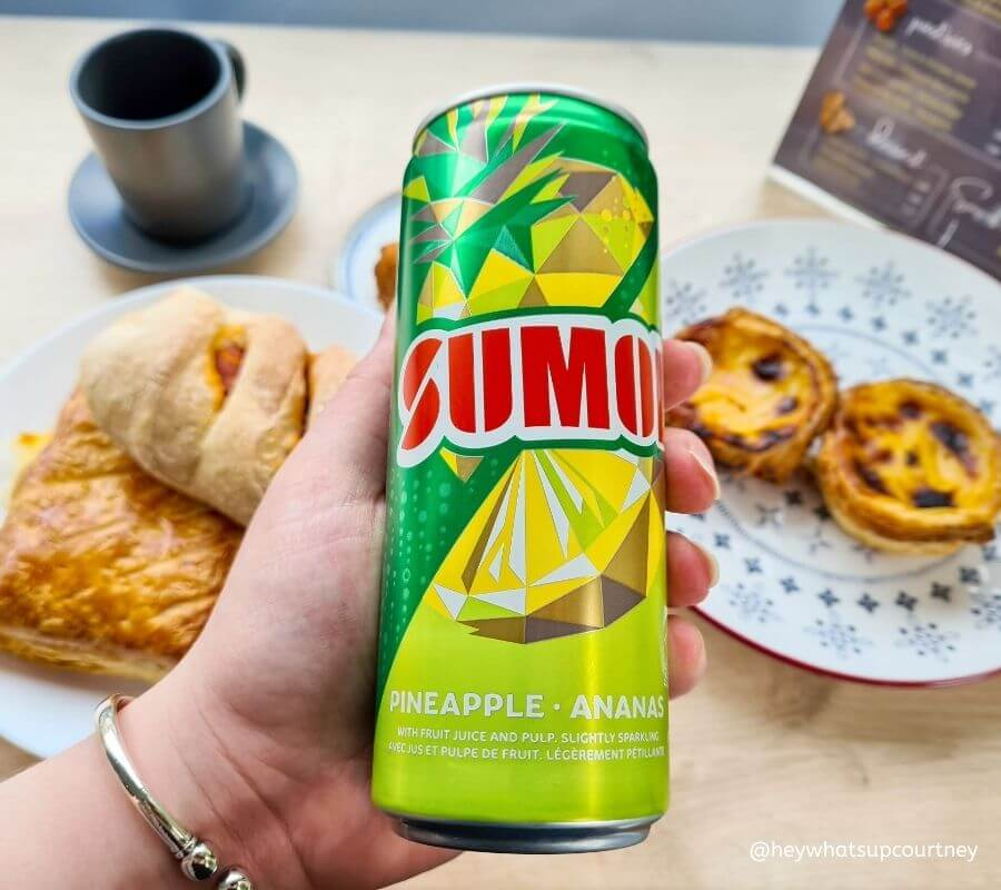 Pineapple Sumol, a refreshing fizzy drink taste exactly as it says on the tin and not very fizzy, it's from the Portuguese Cafe in Newcastle Upon Tyne, www.whatsupcourtney.com